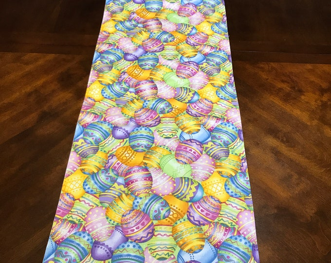 Easter Table Linens, Easter Egg Table Runner, Easter Linens,Table Linens, Colorful Table Runner,Painted Easter Eggs, Reversible Runner, OOAK