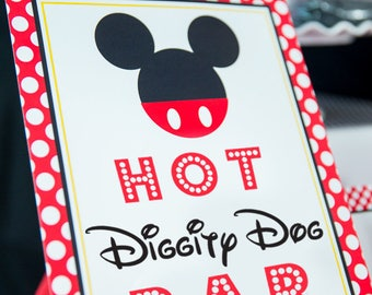 Hot Diggity Dog Bar Sign - Red Mickey Mouse Party Sign - Mickey Mouse Hot Dog Sign - Hot Diggity Dog Bar Mickey Sign by Printable Studio