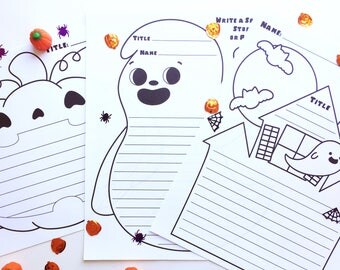 Halloween Writing Pages: DIGITAL PDF DOWNLOAD