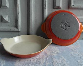 Le Creuset plat oeuf vintage French enamel egg pan, graduated retro orange 1970's dish, cast iron cookware, antique country kitchen classic