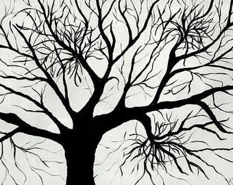 Tree of life print Black and white art Tree of life wall art Tree art Modern home décor Tree décor Abstract tree art Black and white print