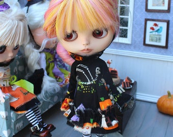 """Blythe Outfit Black Witchy Tattered Halloween Dress Witch Hat Headband For Blythe 12"""""""