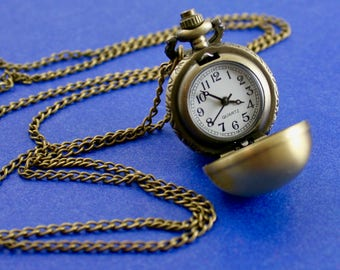 1 pc -Vintage Round Ball Pocket Watch Necklace Pendant, Chain Included, Ball, Sphere, Snitch- BPW-B13648