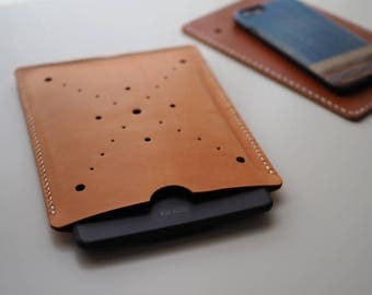Leather Cover: Kindle Paperwhite Cover (Orange) - L001 - Genuine Cow Leather