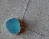 Large Sterling Silver Bezel Genuine Aqua Sea Glass Pendant