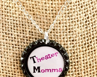 Bottle Cap Necklace - Theater Theme - Silver Chain