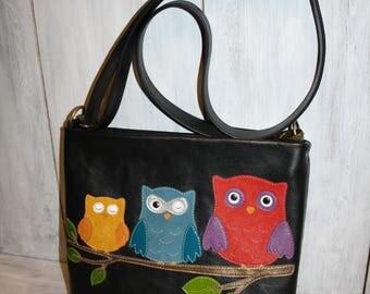 Cross body bag - Cross body black leather bag - Leather handbag owls - leather handbag handmade