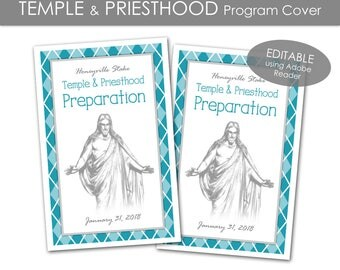 Temple and Priesthood Preparation Program Cover - LDS Primary 2018 Editable PRINTABLE Handout Annual Presentation Meeting Girls Boys