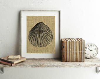 Seashell Print - Burlap Print - Seashell Decor - Seashells - Seashell Wall Decor - Beach House Decor - Beach Decor - Beach Nursery Decor