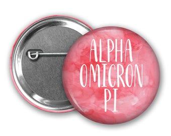 Alpha Omicron Pi Pin Back Button, Pin Back, Greek Button, Sorority gift, Big Little Gift, Alpha Omicron Pi gift, AOPi