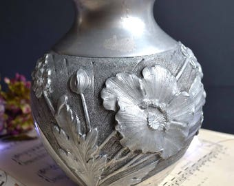 Antique French Art Nouveau Embossed Pewter Flower Vase with Poppies Wheat & Wild Flowers Art Etain Signed L Rozay