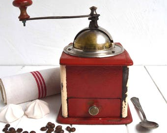 French Country Kitchen Antique Peugeot Freres Valentigney Doubs Red Wooden Coffee Grinder/Mill