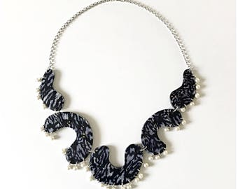 Black, silver, and pearl statement necklace - handmade with polymer clay