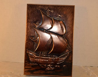 Nautical Metal Box Vintage Copper Look Embossed Ship Relief Nautical Motif Sailing Ship Etched Metal Trinket Hinged Box