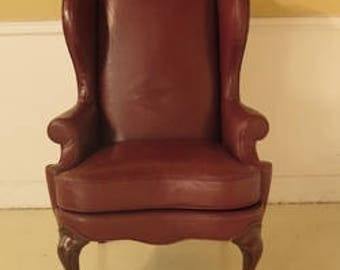 29317E: DREXEL HERITAGE Claw Foot Leather Wing Back Easy Chair