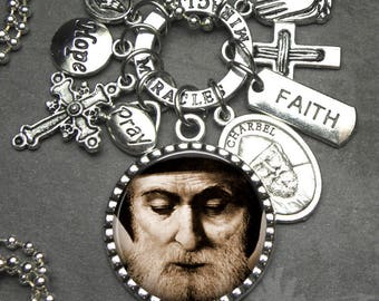 St. Charbel Picture Pendant Catholic Holy Medal & Charm Necklace, Catholic Jewelry, Healing Saint, Faith, Miracles, Hope, Pray