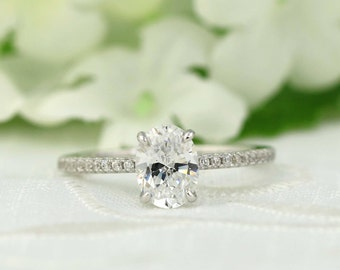1.6 ctw Classic Oval Engagement Ring - Solitaire ring - Oval Cut Ring - Promise ring - Wedding Ring - anniversary ring -Sterling Silver