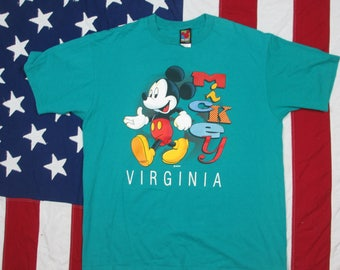 Vintage 1990's Mickey Mouse Virginia Graphic T-Shirt XL Walt Disney World Cartoon Tourist Teal Souvenir Made in USA Minnie
