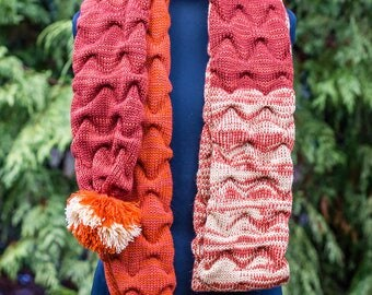 100% Wool long knit scarf, warm winter scarf, red orange oblong scarf, soft knit scarf, melange hand-knitted scarf, wool scarf with pom poms