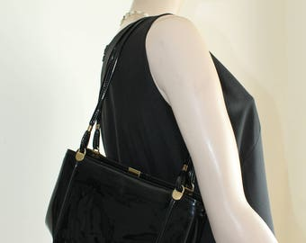 Black Patent Purse by JR 1970s Handbag Shoulder Bag