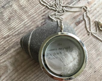 Pale Grey Feather Locket, Christian Necklace, Silver Coloured Locket & Feather