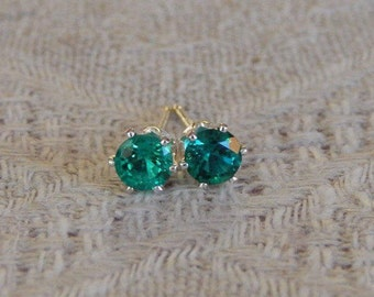 Emerald 4mm Studs, Emerald Earrings, Emerald Sterling Silver Studs, Emerald Green Post Earrings, May Birthstone, Hydrothermal Emeralds