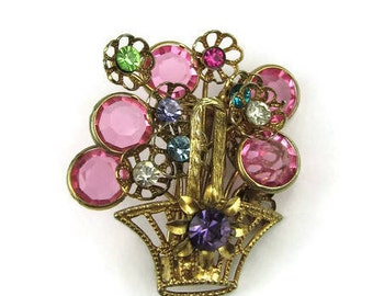 Vintage Flower Basket Brooch
