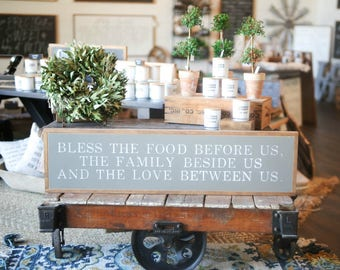 1'X4' Bless The Food Before Us Framed Wood Sign