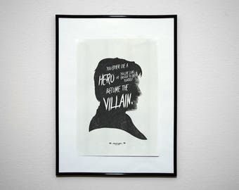 You Either Die A Hero... DK Quote Poster. Super Hero Minimalist Art Print.