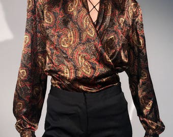 90s Vintage Silky Paisley Blouse Size Small Medium