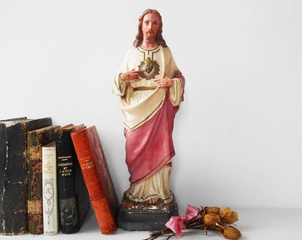 LARGE French Antique Statue Jesus Christ Chalk Ware Statue of Jesus Christ Sacred Heart