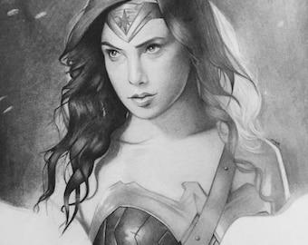 Wonder Woman Gal Gadot pencil drawing