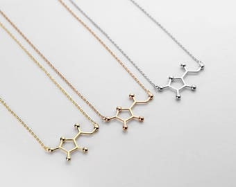 Vitamin C Molecule Necklace  Inspiration Necklace Science gift Pendant Jewelry Personalized Teacher Gift Wellness Jewelry Gift - MVCN