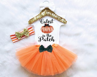 Cutest Pumpkin In The Patch Outfit. Baby Girl Fall Outfit. Baby Halloween Outfit. Baby Thanksgiving Outfit.