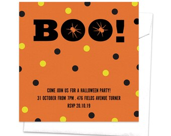 Boo Spider Party Invitation / Horror Party Invitation / Scary Themed Party Invitation / Halloween Party Invitation