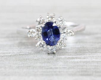 Sapphire and diamond engagement ring in 18 carat white gold vintage for her
