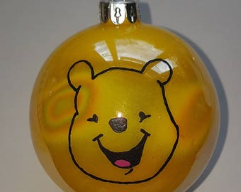Hand painted Winnie the pooh Christmas bauble.