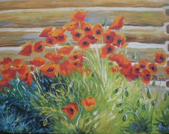 Red Poppies Oil painting Original painting Oil on canvas Gift for mother The landscape with the poppies Gift for women Poppies on canvas