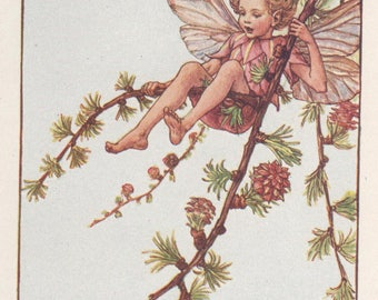 Vintage larch etsy flower fairies the larch fairy vintage print c1930 by cicely mary barker sciox Image collections