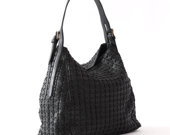 Womens shoulder bag, Womens tote bag, Black shoulder bag, Large leather bag, Woven bag, Ladies handbag, Girls Leather Bag, Natural leather