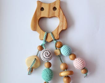 Wooden Teether - modern baby toy - crochet rattle - natural wood teether - wooden toy - eco friendly toy - organic toys - animal toys wooden