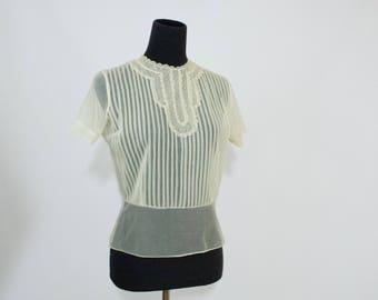 Vintage 50s 60s Women's Small Medium Nylon Sheer Blouse Shirt