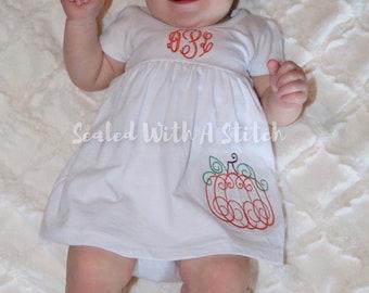 Monogrammed Pumpkin Dress - Fall Toddler Dress