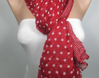 Red Scarf Fashion Scarf  Shawl Crinkle Cowl Scarf Polka Dots Scarf Women Fashion Accessories Valentines Day Gift Ideas For Her