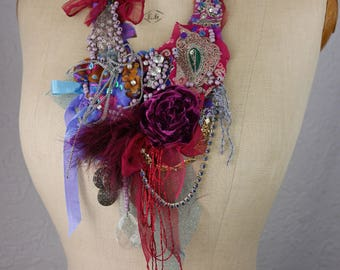 "RESERVED Boho Necklace ""Gypsy travel trailer"", fairy, Art to wear, Unique"