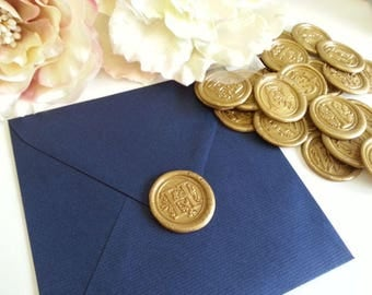 Initials H Wax Stickers, Alphabets Monogram Letter Classic font Envelope Wax seals hand made, Self adhesive wax seal stickers - Pure Invites