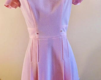 1960s Pink Kick Pleat Mod Dress Pearl Accents Short sleeve Dress Sky Vaug