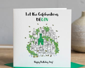 Gin Birthday Card, Let the Celebrations be-GIN, Birthday Gin Card, Personalised Birthday Card, Card for Gin Lover, Gin Card - SKU0203