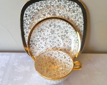 Tea Cup, Saucer, Cake Plate, 1940s Karol China Pattern KCH6 & Homer Laughlin China Debutante Pattern Karolyte, 22 Karat China Floral Pattern
