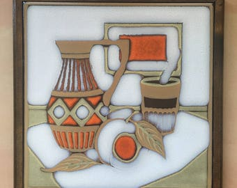 Ceramic Art Tile, Vintage 1960s-70s, Still Life, Warm Earth Tones Framed Trivet/Wall Hanging Large 10 inch Tile, Art Tile Made in Italy